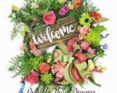 Welcome Wreath, Summer Door Wreath, Front Door Wreath, Welcome Sign, Wreath with Welcome Sign, Porch Wreath