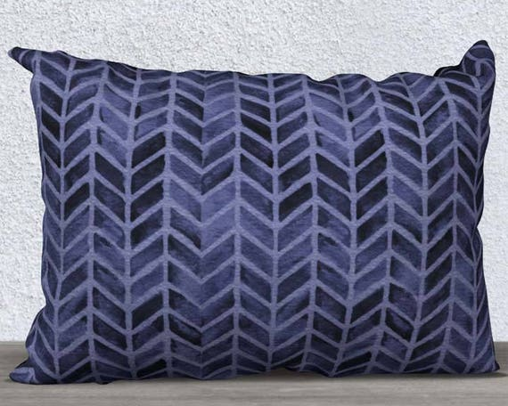 "Boho Pillow Cover In Navy, 14"" x20"""