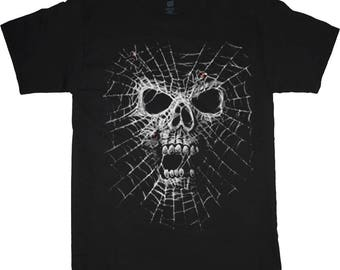 Spider web skull decal shirt
