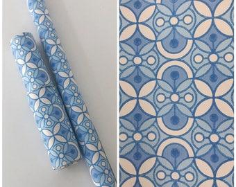 Roll of Vintage 1960s Blue Geometric Patterned Wallpaper