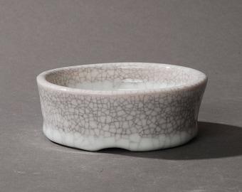 Mini Bonsai pot. White crackle #1