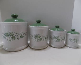 "4-Canister Set-Jay Import for Corelle ""Callaway"" Ivy - Flour Sugar Coffee Tea"
