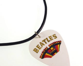 The Beatles MAGICAL MYSTERY TOUR Album Cover Art Genuine Guitar Pick Necklace