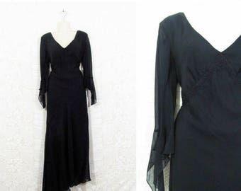 35% OFF DRESS SALE Vtg 90s Sheer Silk Overlay Witchy Gothic Bohemian Asymmetrical Dress sz Xl