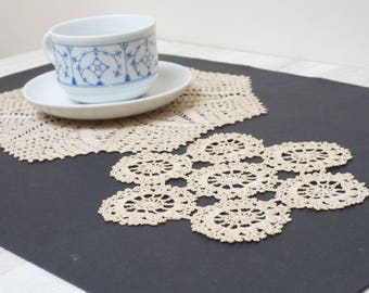 Set of 2 oatmeal cream White crochet round doily runner Coaster pad table placemat folk style flower openwork small cotton milk snowflake