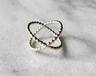 Sterling silver beaded double band ring, x-ring, criss-cross ring, size 7.
