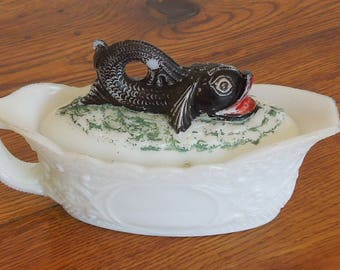 Antique Westmoreland Milk Glass Dolphin Covered Lidded Dish Painted