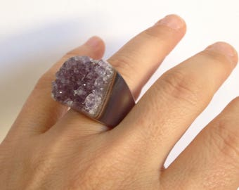 Ring-crystal ring, quartz ring, raw gemstone, Amythest, Amethyst ring, gemstone ring, large ring, hand carved stone ring, druzy ring