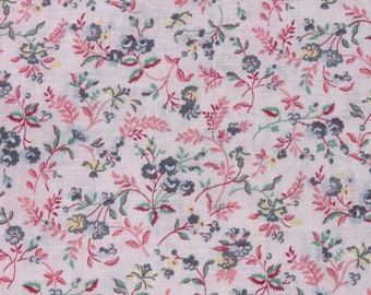 Vintage Small Print Pink Flower Cotton Fabric, Tiny Print Floral Doll Dress Quilting Sewing Fabric, 1 yard