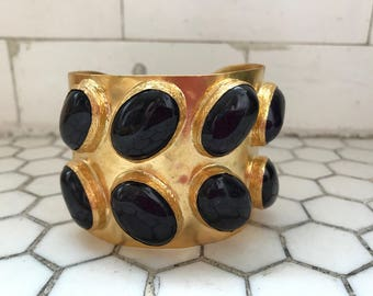 Aubergine Colored Stone Jeweled Gold Metal Cuff