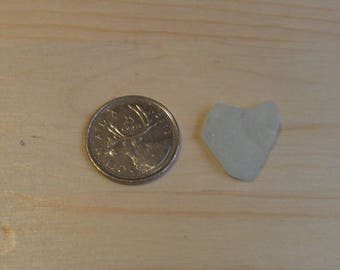 Genuine surf tumbled White heart shaped sea glass beach glass