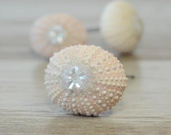 Pink Sea Urchin Hair Pins Beach Wedding Bridal Hair Pins Mermaid Hair Pins Sea Shell Hair Pins Beach Bridal Hair Barrette Seashell accessory
