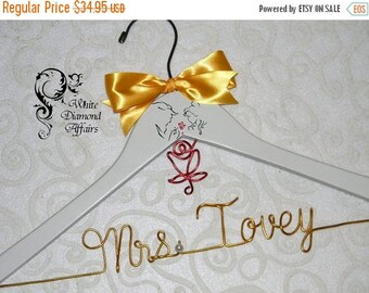 Christmas in July Beauty & the Beast Rose Themed Wedding Hanger, Disney Princess Wedding, Personalized Bridal Hanger, Gift Wire