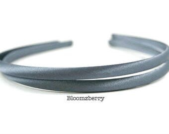 7 mm Satin Plastic Headband - Slate Gray Color- Gray Satin Headband - Baby to Toddler - Satin Headband - Hair Accessories Supplies