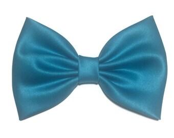 Steel Blue Hair Bow, Blue Satin Hair Bow, Bows For Women, Kawaii Bows, Handmade Bow, Satin Fabric Bow, Lolita, Big Bow, Baby Girl Bow, ST017