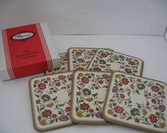 Vintage Pimpernel Jacobean Flower Square Coasters From United Kingdom in Original Box, Set of Six
