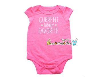 Family Favorite Pink Statement Onesie Shirt for Newborn Baby Girls, New Moms and Dads, Baby Shower Gift