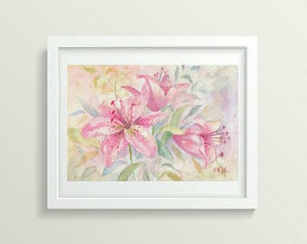 Watercolor Lily Painting Wall Art Watercolor Original Painting Small Art Floral Watercolor Flowers Gift for Her Unique Aquarelle Art Pink
