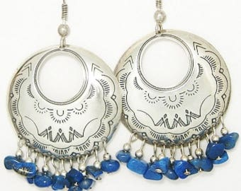 SOUTHWEST Vintage Hand Stamped Sterling Silver CONCHO Lapis Dangle HOOP Earrings Artisan Designer Crafted Boho Hipster Fashion Jewelry