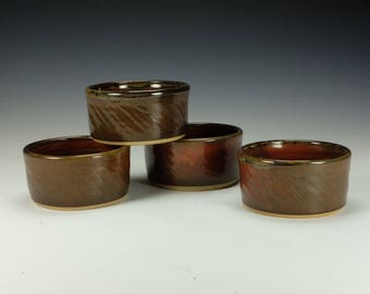 Salsa / Guacamole cup.  Dessert bowl.  Iron red glaze. Ready to ship.