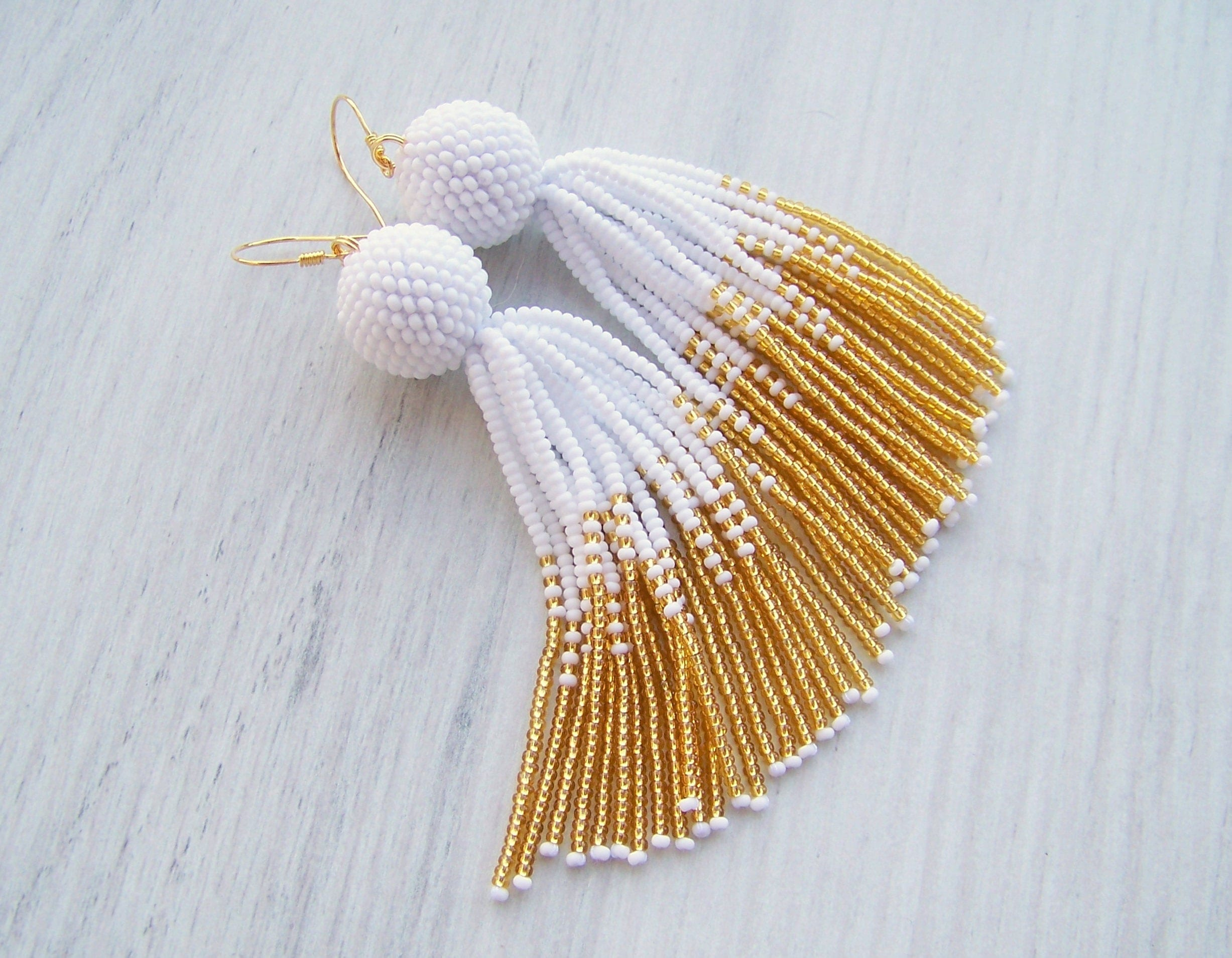 earrings stud gold fan beaded dangle black and white pin