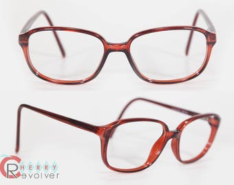 ELAN BROWN Rectangular RX Prescription Glasses for Men or Women Military Style Vintage 80s 150mm