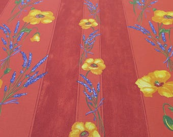 Rectangular cotton coated, oilcloth tablecloth. Fabric from Provence, France. Poppies in terra cotta