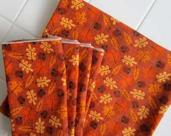 Autumn Forest Tablecloth And Set Of Four Napkins Fall Colors Oak Leaves  Acorns Brown Copper Orange