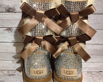 KIDS bling bailey bow ugg boots- girls bling custom ugg boots- girls bling bailey bow ugg boots- youth bling uggs- toddler bling uggs-