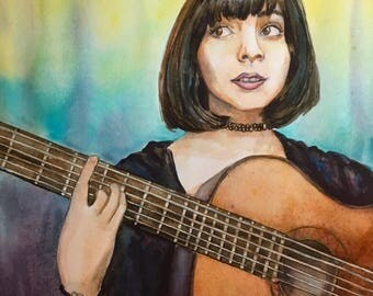 Woman Playing Guitar Watercolor Painting, 8x10 inches, Original Art by Heather Torres, Music Art