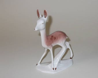 Vintage Porcelain Deer Figurine, Woodland Deer, Bambi Deer, Realistic Animal, Home Decor, Collectible