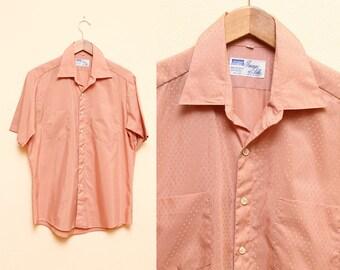 Mens Salmon Shirt // 1970s Peach Short Sleeve Top Montgomery Ward Collared Blouse Size 16 Medium