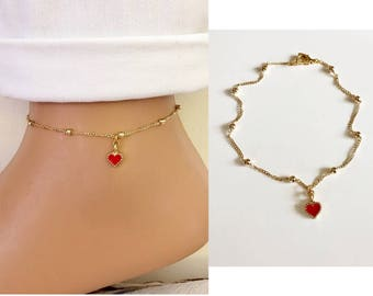 Gold Plated Ball Chain Bracelet, Heart Charm Bracelet, Red Love Bracelet Friendship Jewelry, Gift for Her, Love,Valentines Gift Ideas
