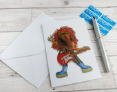Rockstar Hamster Card Rock and Roll Music Musician Glam Greetings 70s Humour Cute Funny