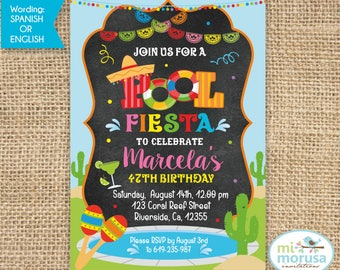 Fiesta Pool Party, Mexican theme pool party, printable invitation, JPEG file, not an instant download