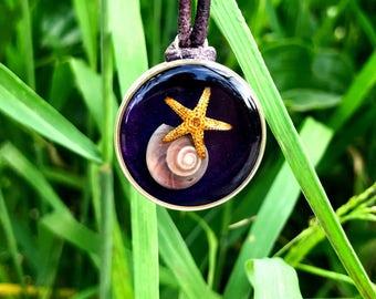 Sea Shell and Starfish Seascape Resin Pendant