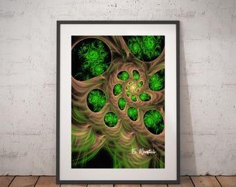 Green brown line art, giclee print, fractal art, minimalist art, modern art, geometric art, abstract art, sacred geometry,computer geek gift