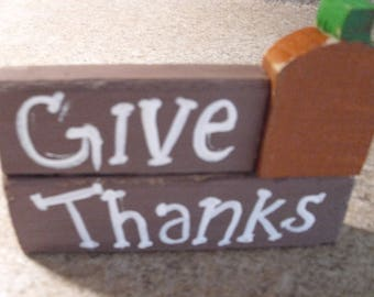 give thanks blocks with pumpkin