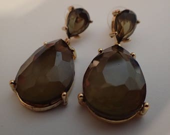 Vintage Light Olive Green RS Dangle Earrings T-48