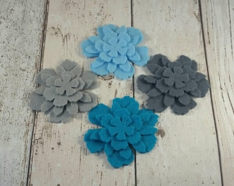 Turquoise, Teal & Grey Felt Flowers, felt flowers, embellishments, felt applique, die cut flowers, felt supplies, die cut felt, home decor