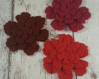 Red Felt Flowers, felt flowers, embellishments, felt applique, die cut flowers, felt supplies, Mother's Day, Valentine's, Bridal Bouquets