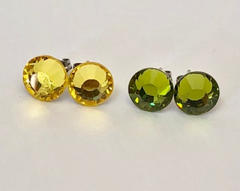 Olivine or Light Topaz Swarovski Crystal Earrings Studs Surgical Steel Posts Studs with Olive Green or Yellow Crystals