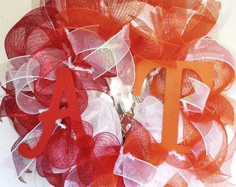 Alabama Tennessee House Divided wreath, Team spirit wreath, collegiate wreath, house divided wreath
