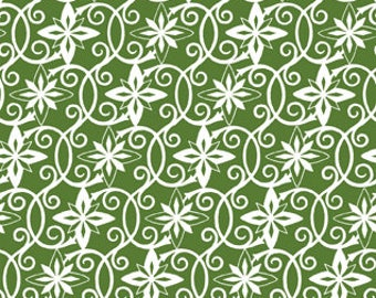 Christmas Fabric/White Poinsettia on Green/Cotton Sewing Material//Quilting, Clothing, Craft/Fat Quarter, Half, or By The Yard, Yardage