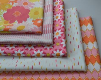 Coral Fat Quarter Bundle, Art Gallery Quilts, Pink, White, Sewing Material, Jeni Baker Vintage Fabric, Flower, Geometric, 5 Fabrics