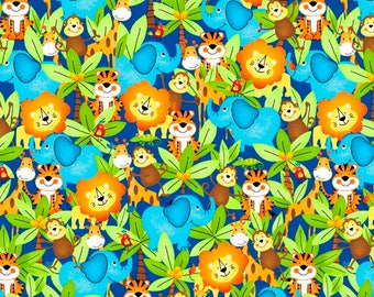 Jungle Fabric, Elephants, Lions, Tigers, Monkeys - Children's Material - Quilting, Craft - Fat Quarter, By The Yard, Cotton Yardage