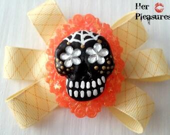 Dia De Los Muertos Day Of the Dead Sugar Skull Haunted Hair Bow