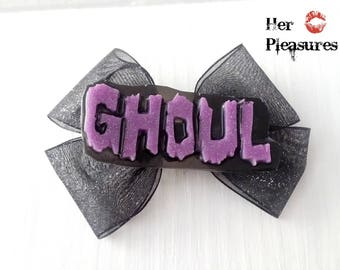 Ghoul Pastel Goth Purple Creepy Cute Cosplay Horror Hair Bow