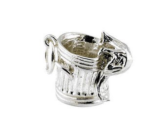 Sterling Silver  Moving Cat In Dustbin Charm For Bracelets