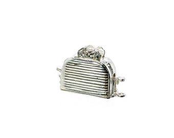 Sterling Silver Moving Toaster Charm For Bracelets